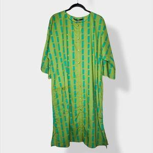 NEW Gudrun Sjoden Green Button Down Dress Large